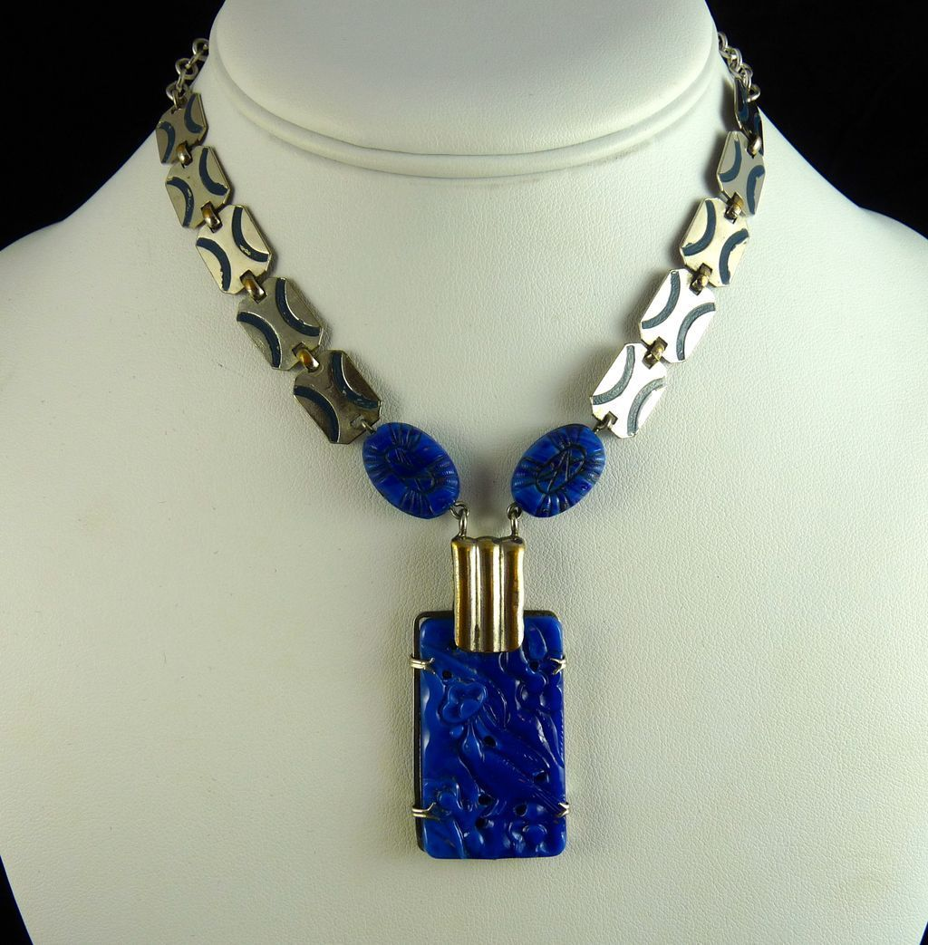 Vintage Art Deco Chrome and Lapis Molded Glass Necklace