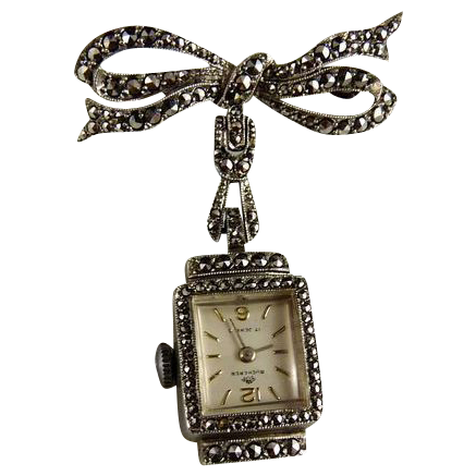Vintage Bucherer Silver Marcasite Watch Pin Brooch
