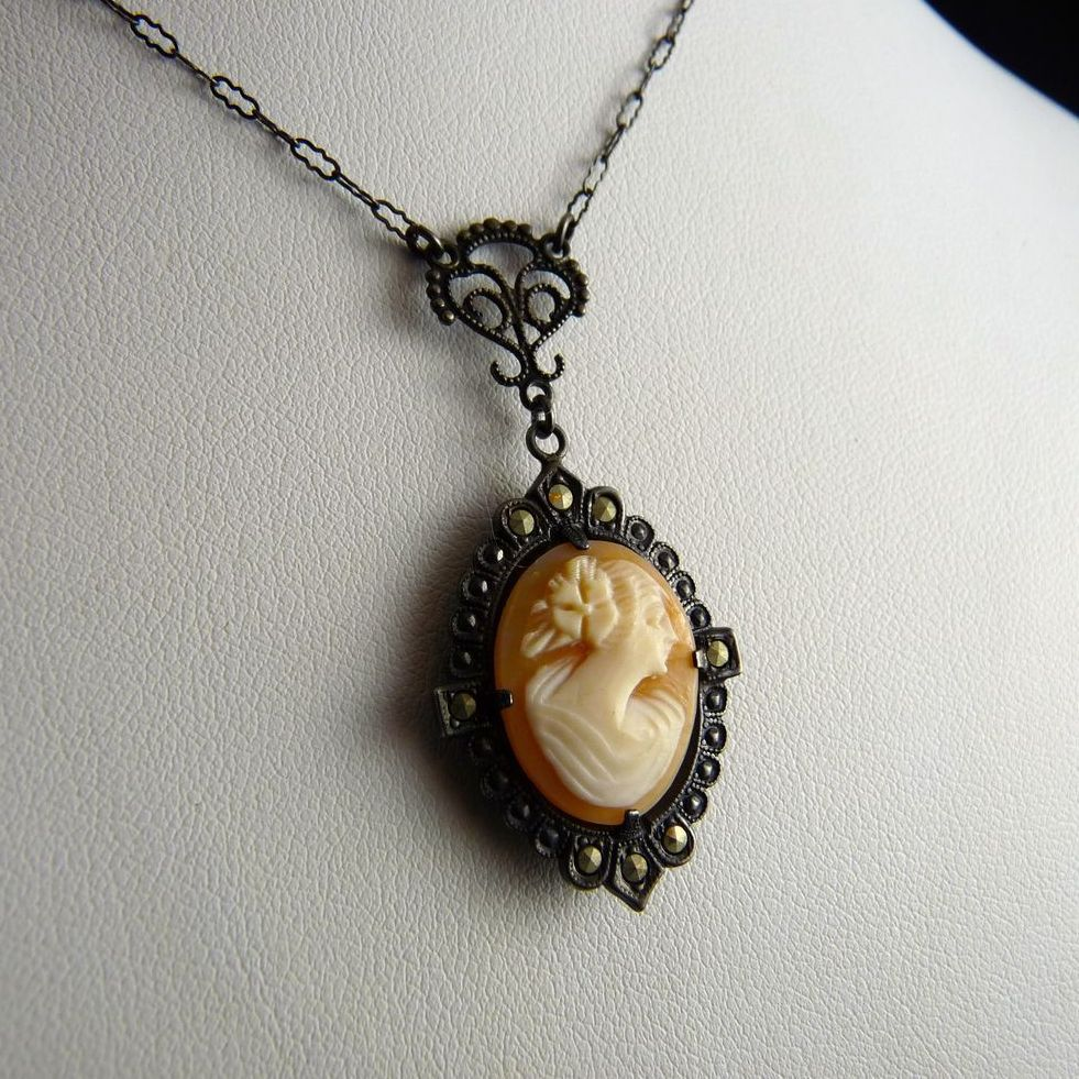 Vintage Art Deco Cameo Lavalier Necklace Sterling Marcasite