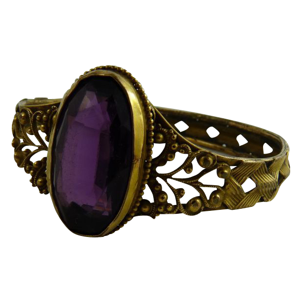 Antique Victorian Bracelet Gilt Brass Filigree Amethyst Glass Stone