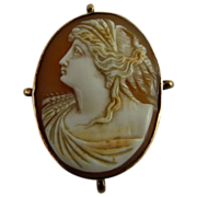 Antique Edwardian Left Facing Cameo Demeter or Ceres 10K Gold