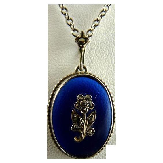 Vintage Bristol Blue Glass Pendant 800 Silver Marcasite