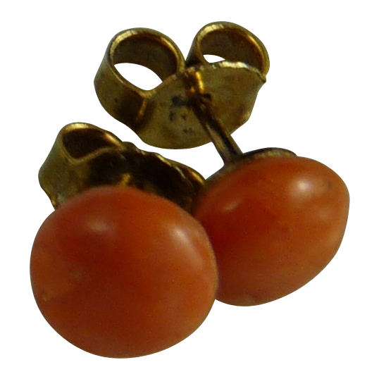 Vintage Coral Button Stud Post Earrings