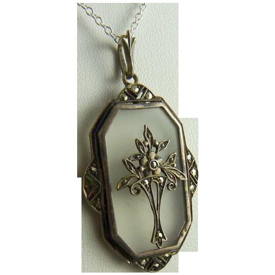Vintage Art Deco Rock Crystal Sterling Silver Marcasite Pendant