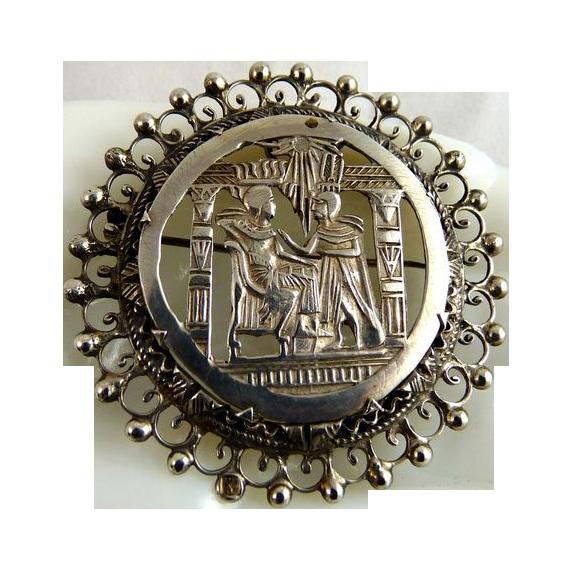 Vintage Egyptian 800 Silver Pin Pendant