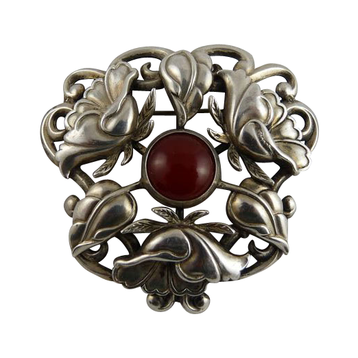 Vintage Art Nouveau Arts and Crafts Sterling Carnelian Pin