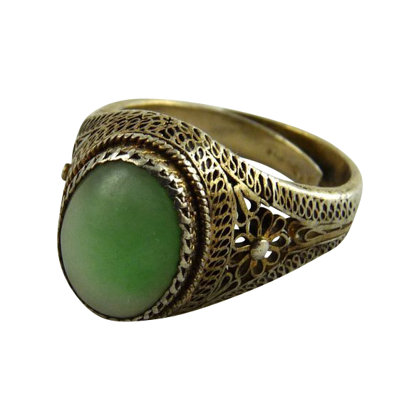 Chinese Export Filigree Jade Ring