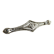 Vintage Art Deco Filigree Bar Pin 14K White Gold and Diamonds