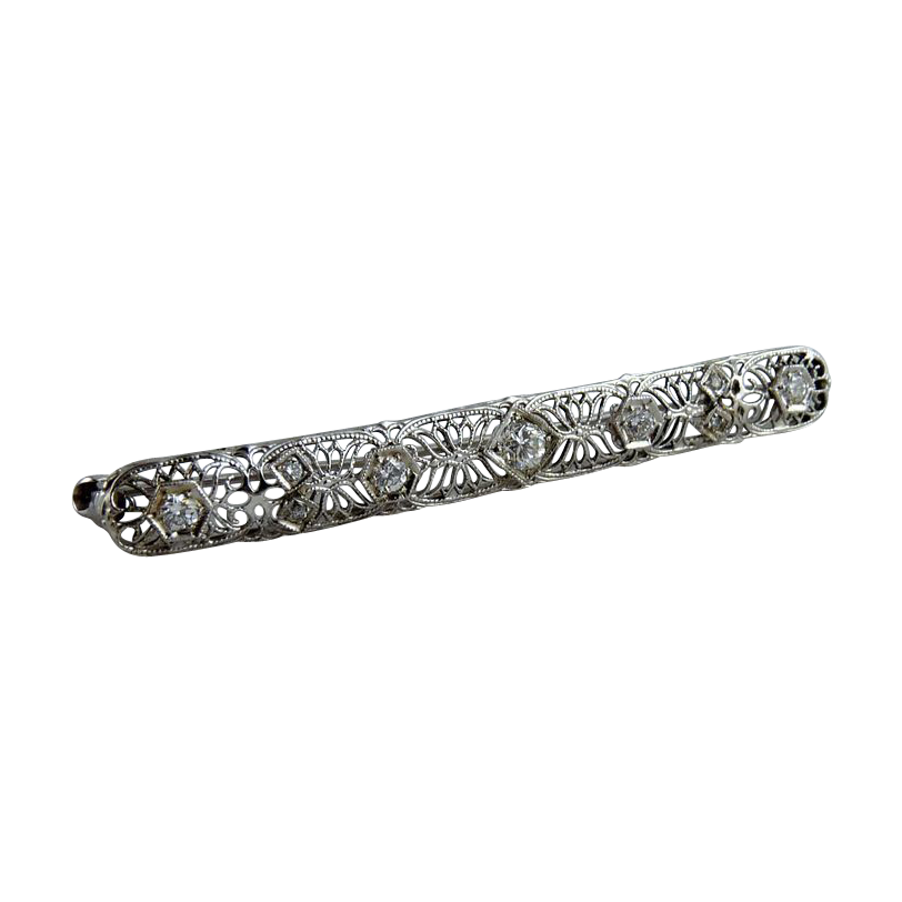 Vintage Art Deco Filigree Diamond Bar Pin 14K White Gold
