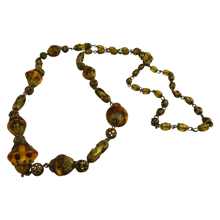 Vintage Art Deco Flapper Necklace Amber Glass Beads Brass Filigree Caps