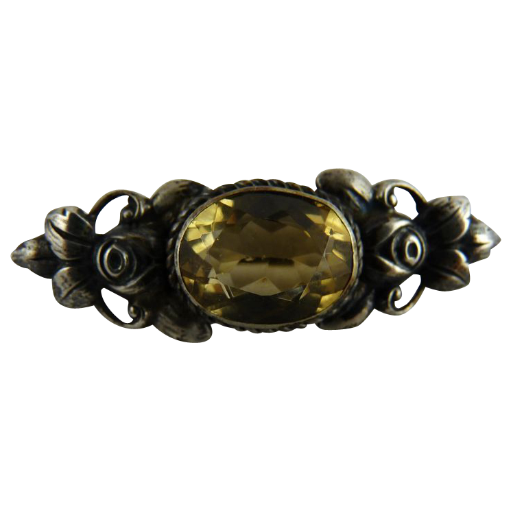 Antique Victorian Citrine Pin 800 Silver