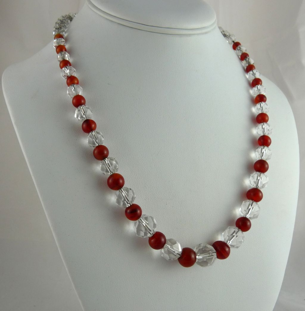 Vintage Art Deco Rock Crystal and Carnelian Bead Necklace