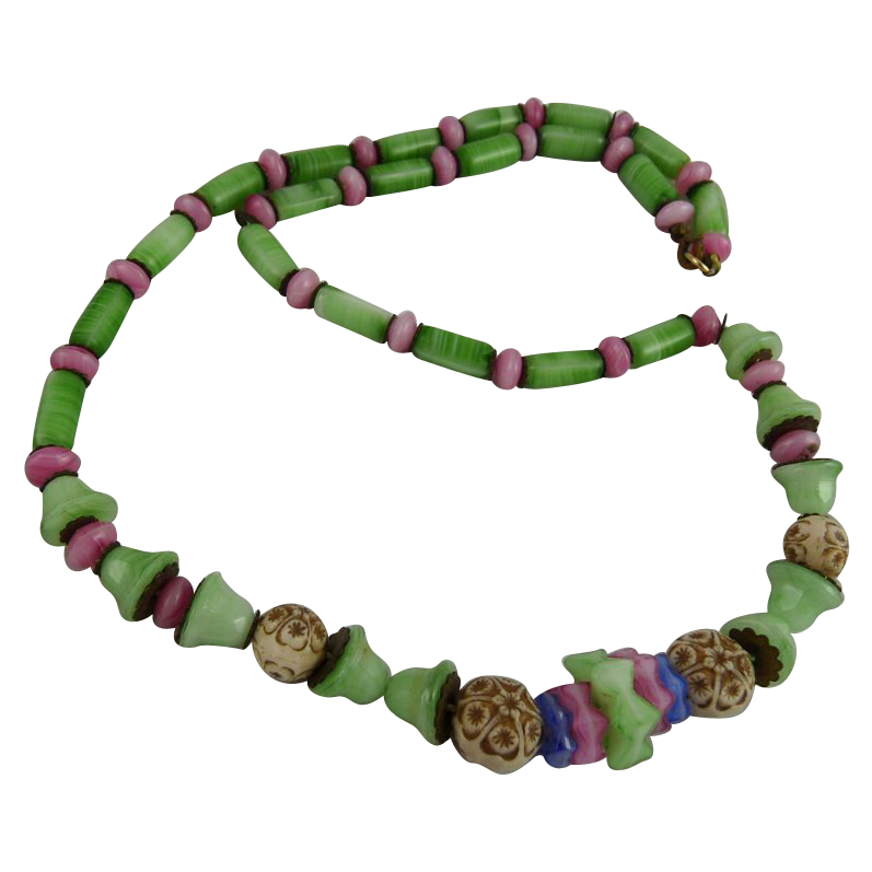 Vintage Art Deco Glass Bead Necklace Swirled Green and Pink