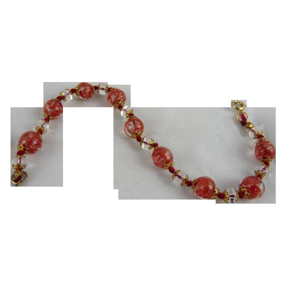 Vintage Murano Glass Bead Bracelet