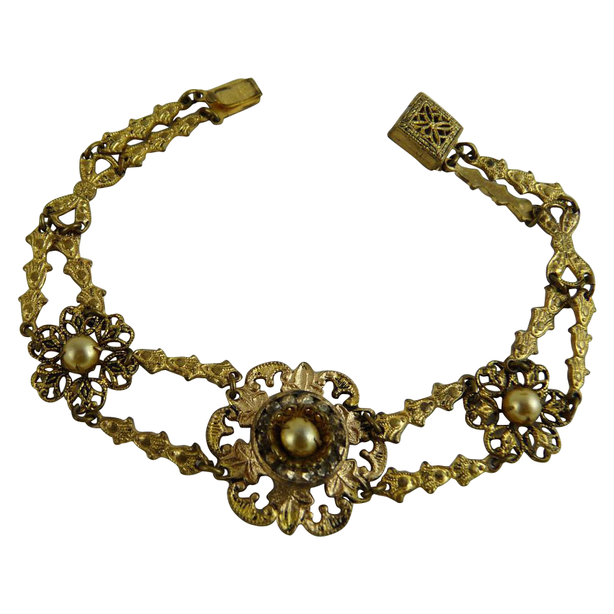 Vintage Gilt Brass Bracelet with Faux Pearls
