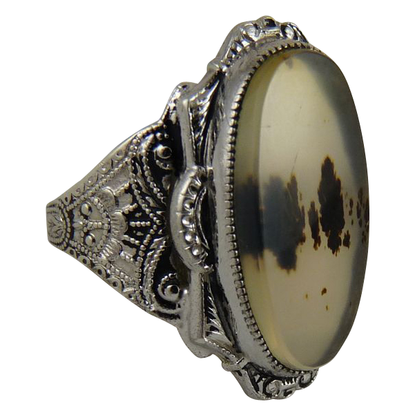 Vintage Sterling Silver and Moss Agate Ring Clark and Coombs