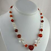 Art Deco Carnelian and Rock Crystal Bead Necklace