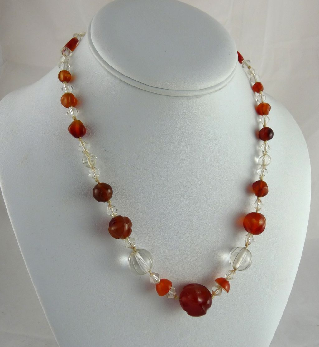 Vintage Art Deco Carnelian and Rock Crystal Bead Necklace