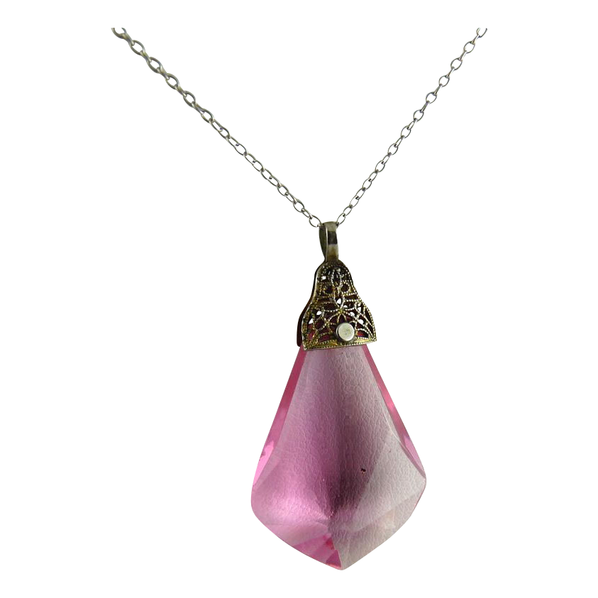 Vintage Art Deco Faceted Pink Glass Drop Pendant Filigree Mount