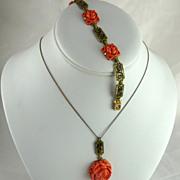 Vintage Faux Coral Enamel Demi Parure Asian Theme