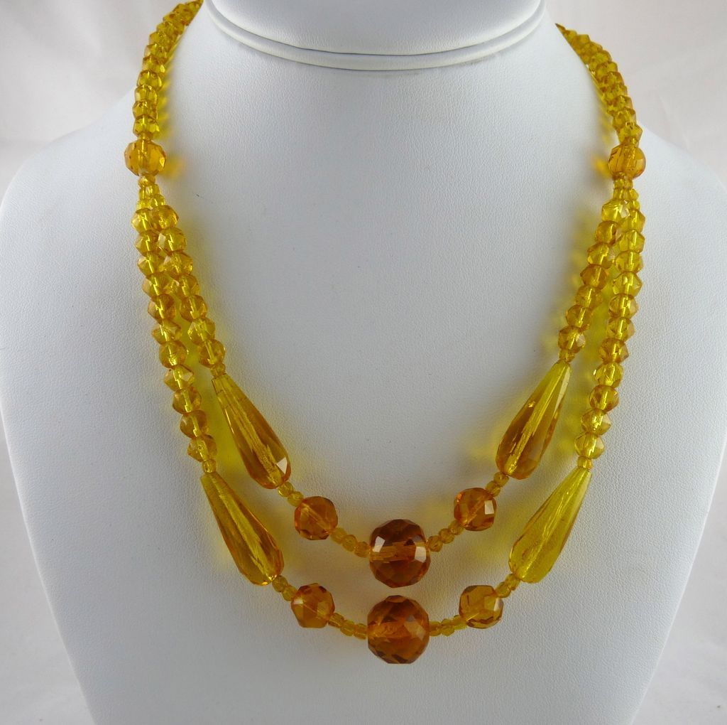 Vintage Art Deco Yellow Glass Bead Festoon Necklace