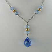 Art Deco Drop Necklace with Blue Glass Briolette