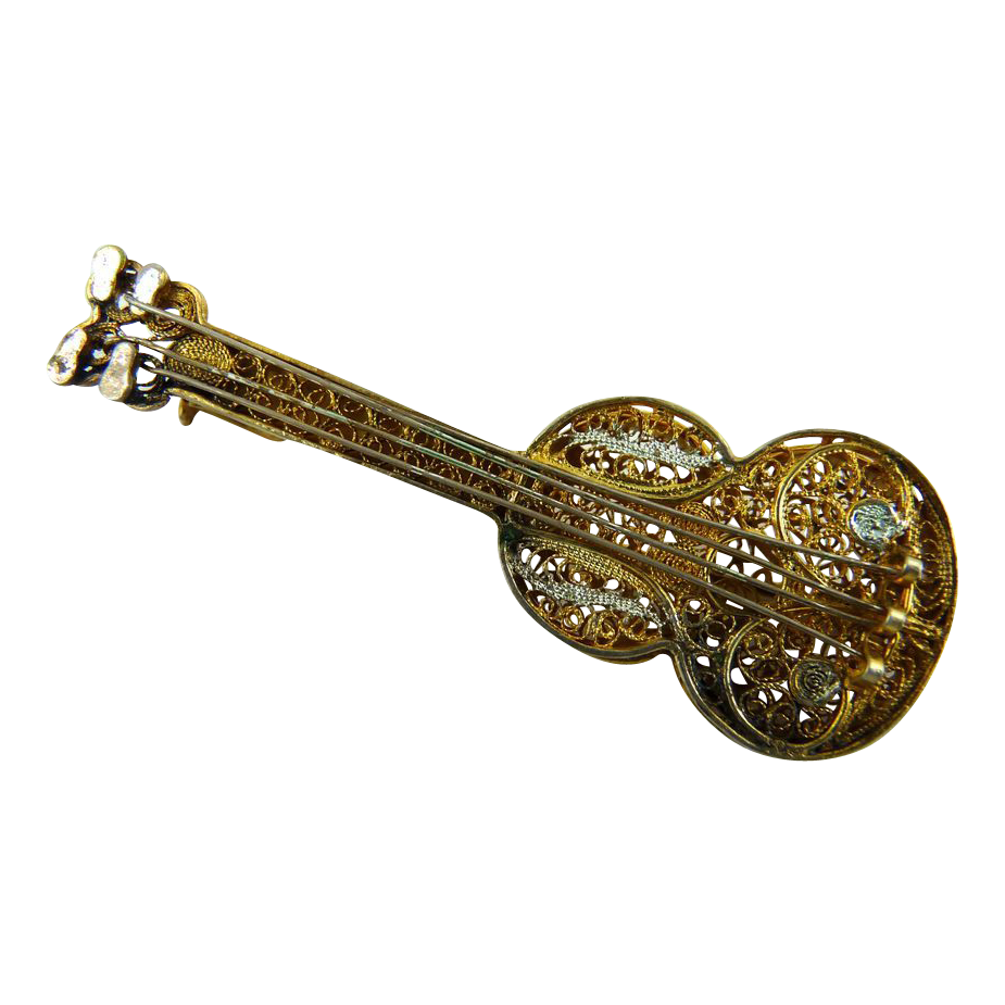 Vintage 800 Silver Filigree Guitar Pin Gold Wash