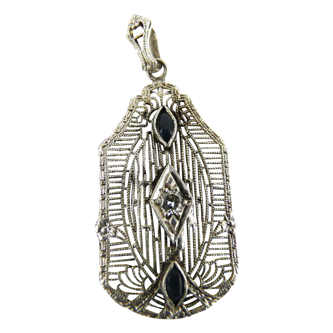 Vintage Art Deco Sterling Silver Filigree Pendant Diamond Faux Sapphire