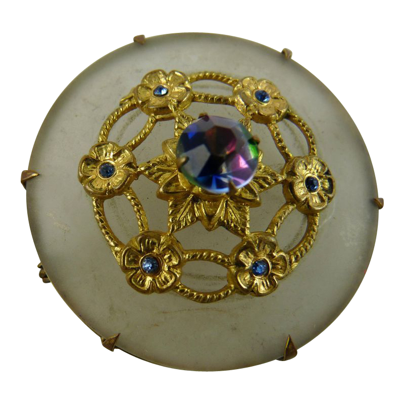 Antique Victorian Camphor Glass Pin with Iris Glass Stone