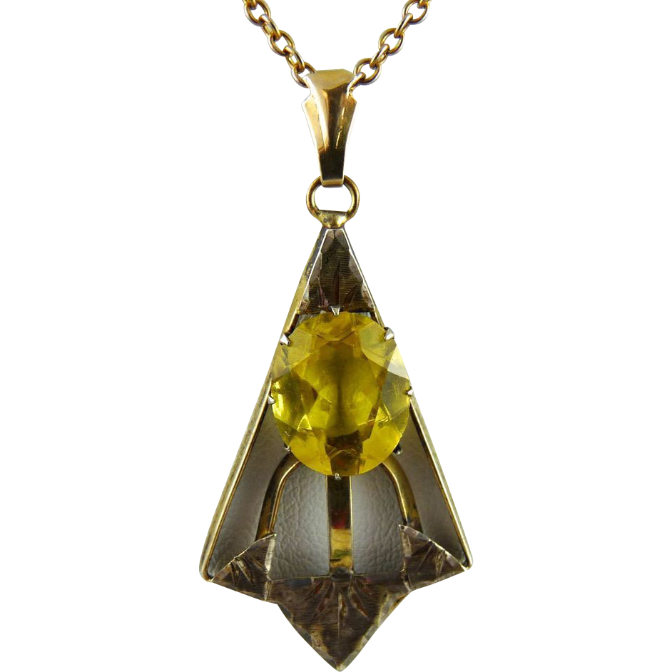 Vintage Art Deco Gold Filled Citrine Glass Lavalier Pendant