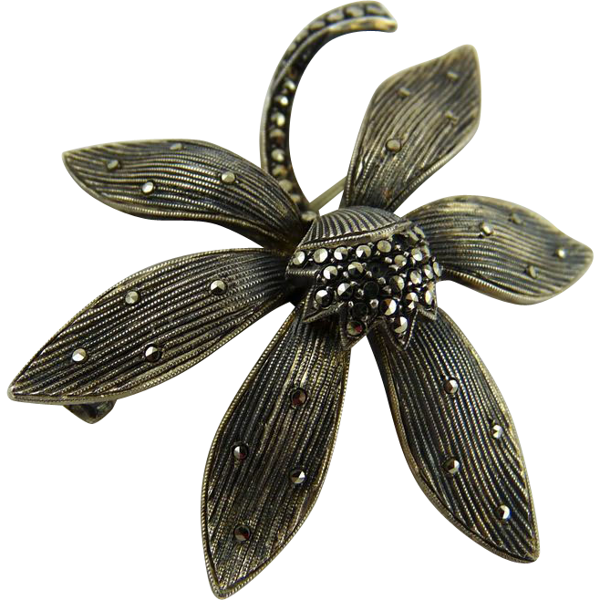 Vintage Art Deco Theodore Fahrner Sterling and Marcasite Brooch
