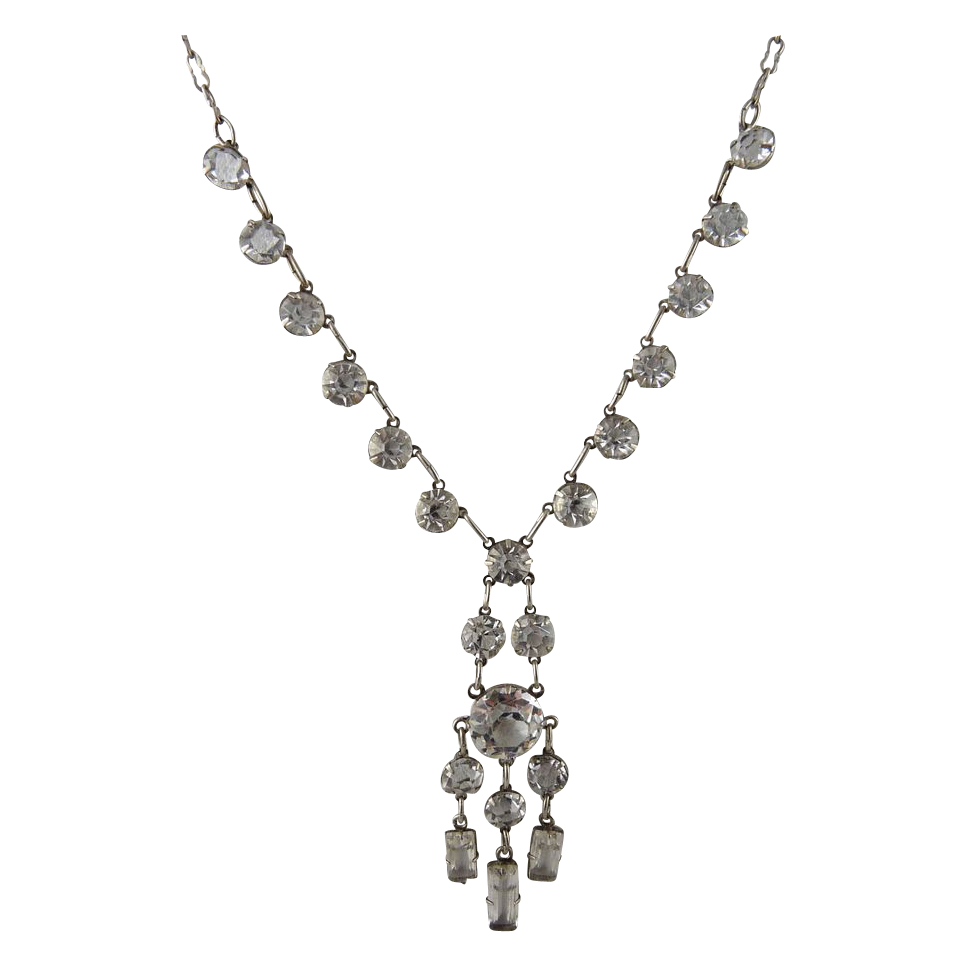 Vintage Art Deco Sterling Silver Open Back Crystal Necklace