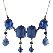 Art Deco Czech Glass Necklace Periwinkle Blue