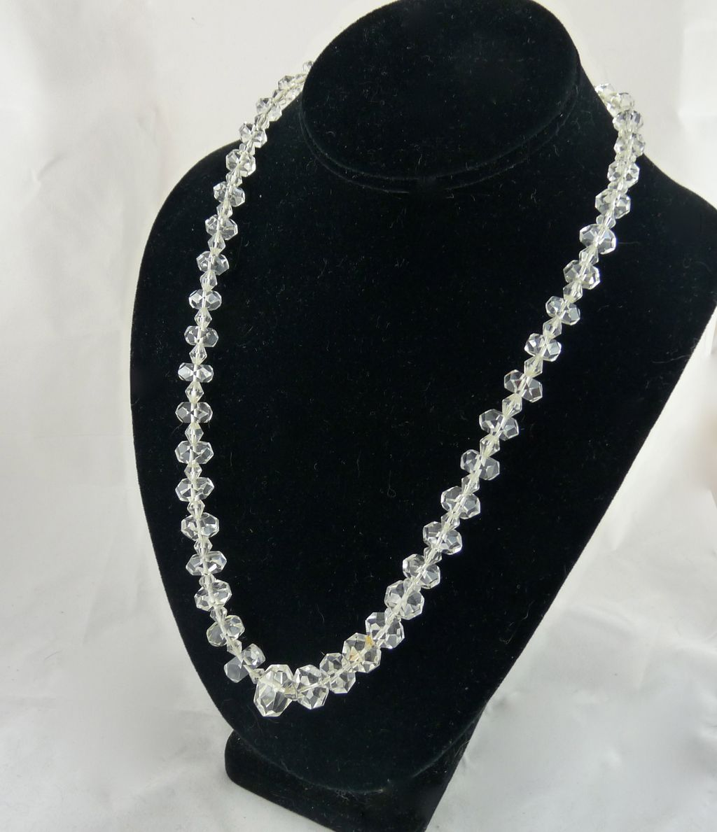 Vintage Art Deco Rock Crystal Bead Necklace Hand Faceted