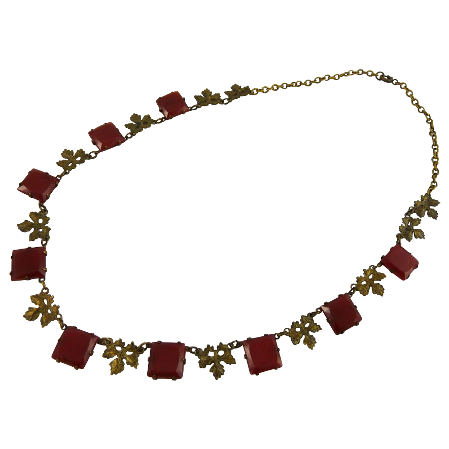 Vintage Art Deco Necklace with Carnelian Glass and Brass Leaves