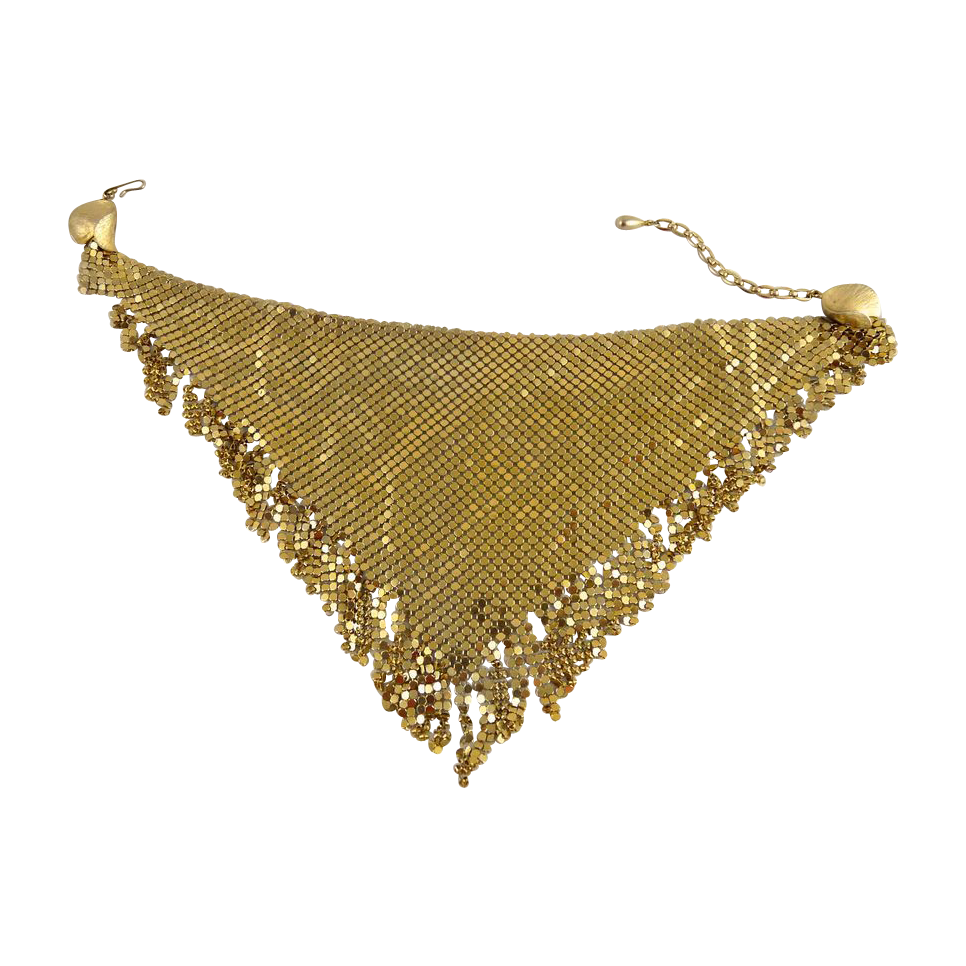 Vintage Napier Gold Mesh Bib Necklace with Fringe