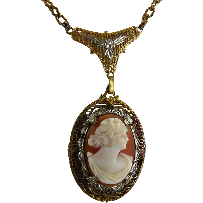 Vintage Art Deco Cameo Lavalier Necklace Filigree Setting