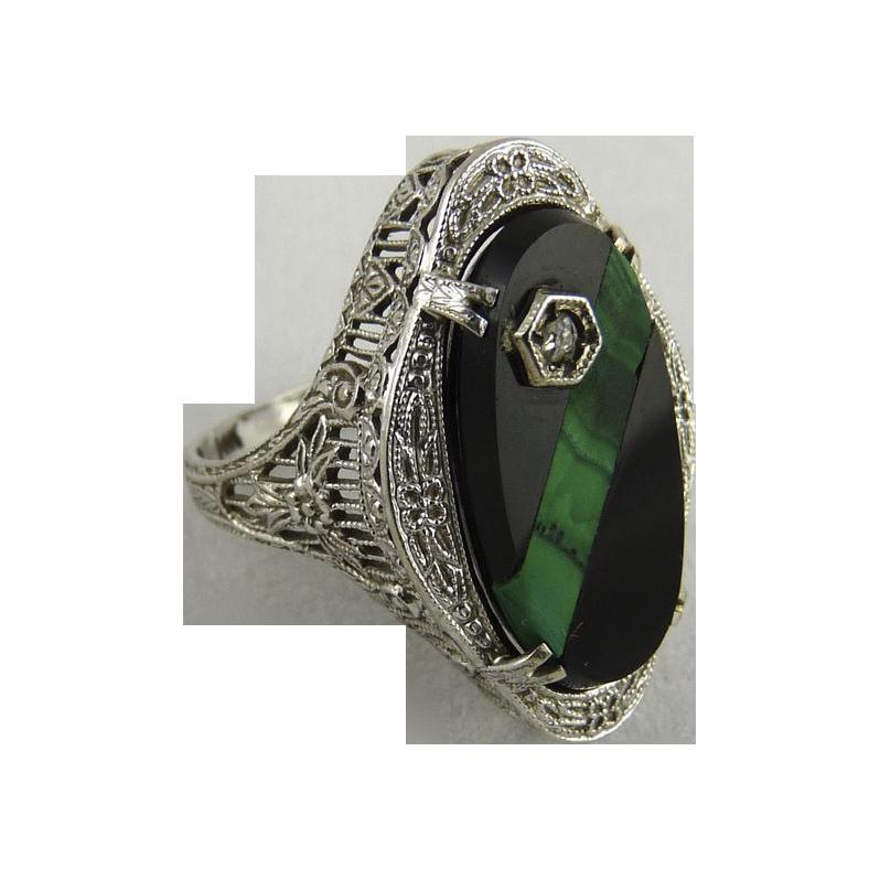 Vintage Art Deco 14K White Gold Filigree Onyx Malachite Diamond Ring