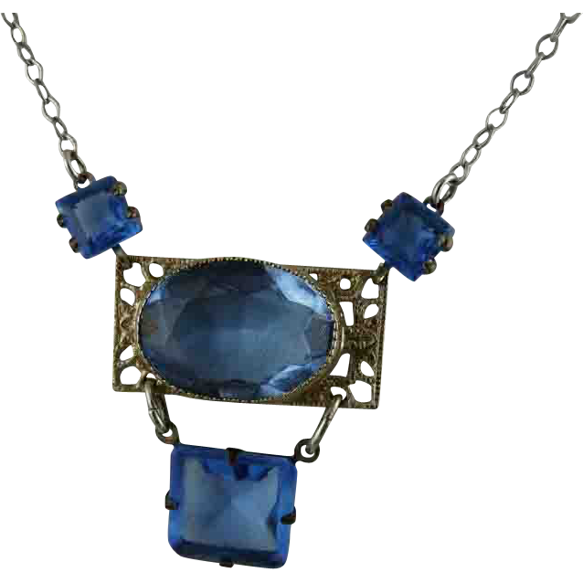 Vintage Art Deco Blue Czech Glass Filigree Necklace