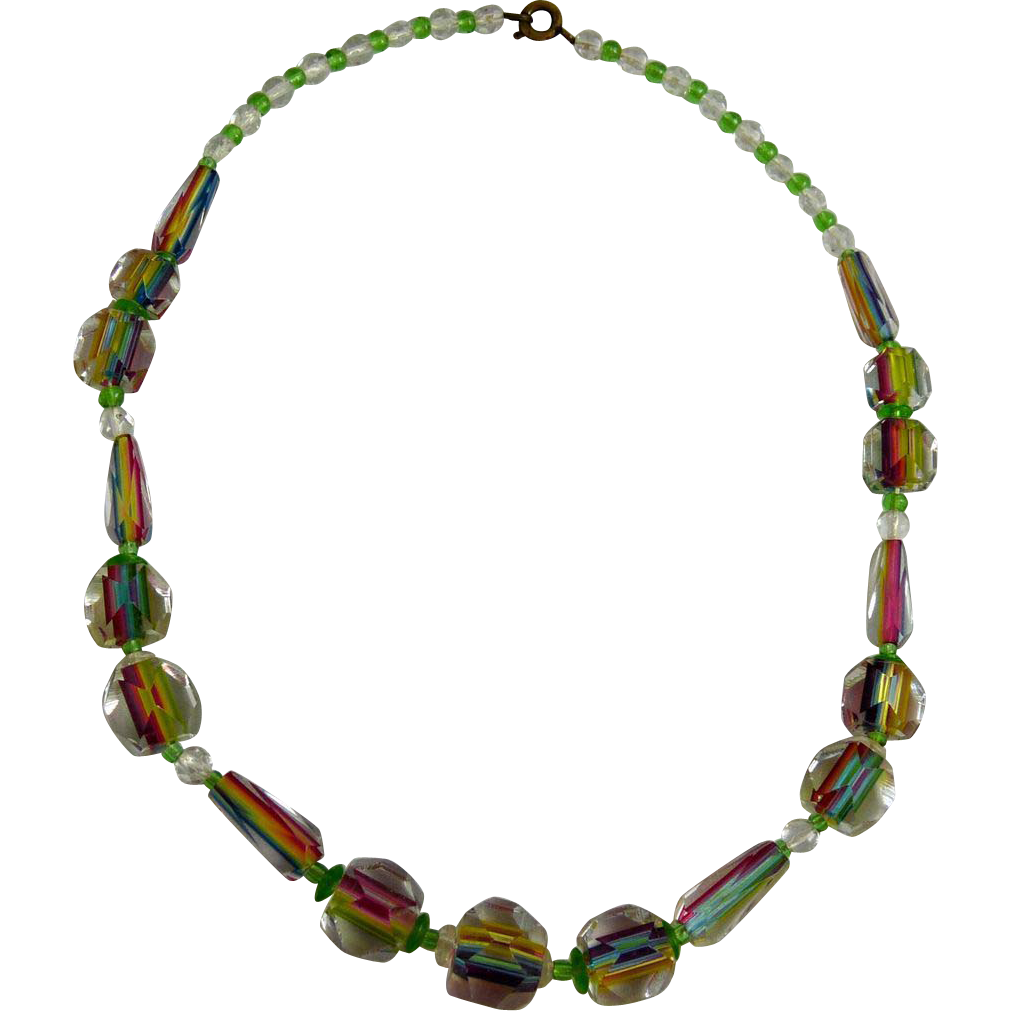 Vintage Art Deco Iris or Rainbow Glass Bead Necklace
