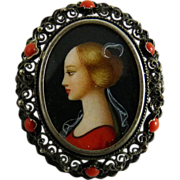 Vintage Italian Portrait Brooch Pendant 800 Silver