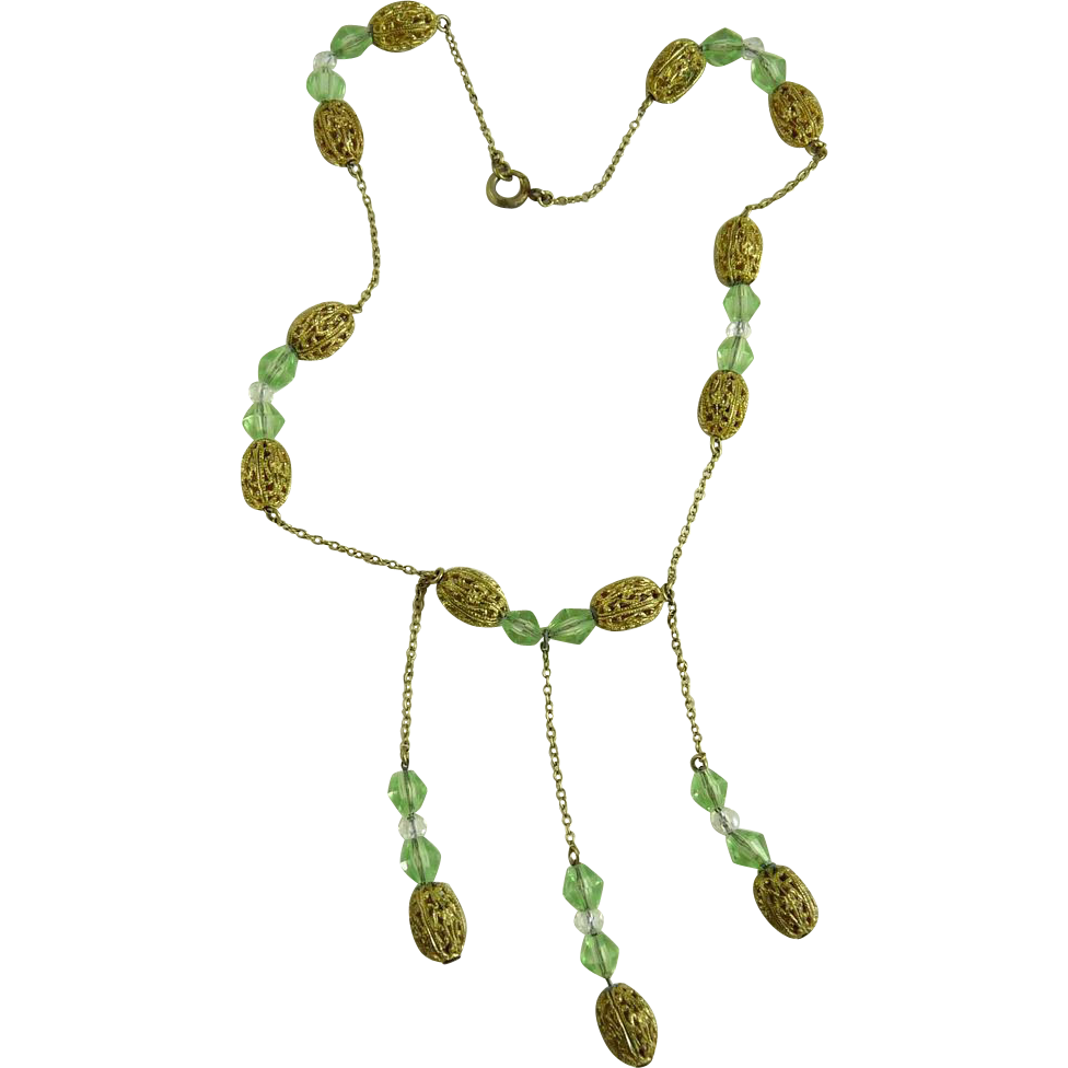 Vintage Art Deco Necklace Filigree Beads and Peridot Glass Beads