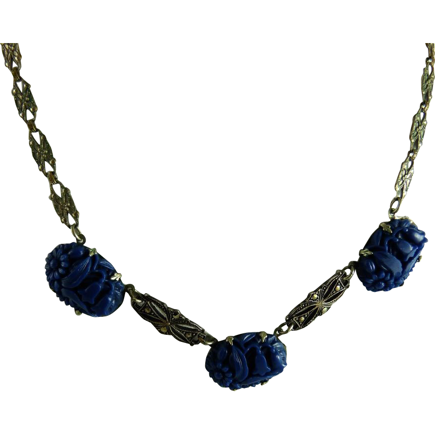 Vintage Art Deco Molded Lapis Glass Marcasite Necklace