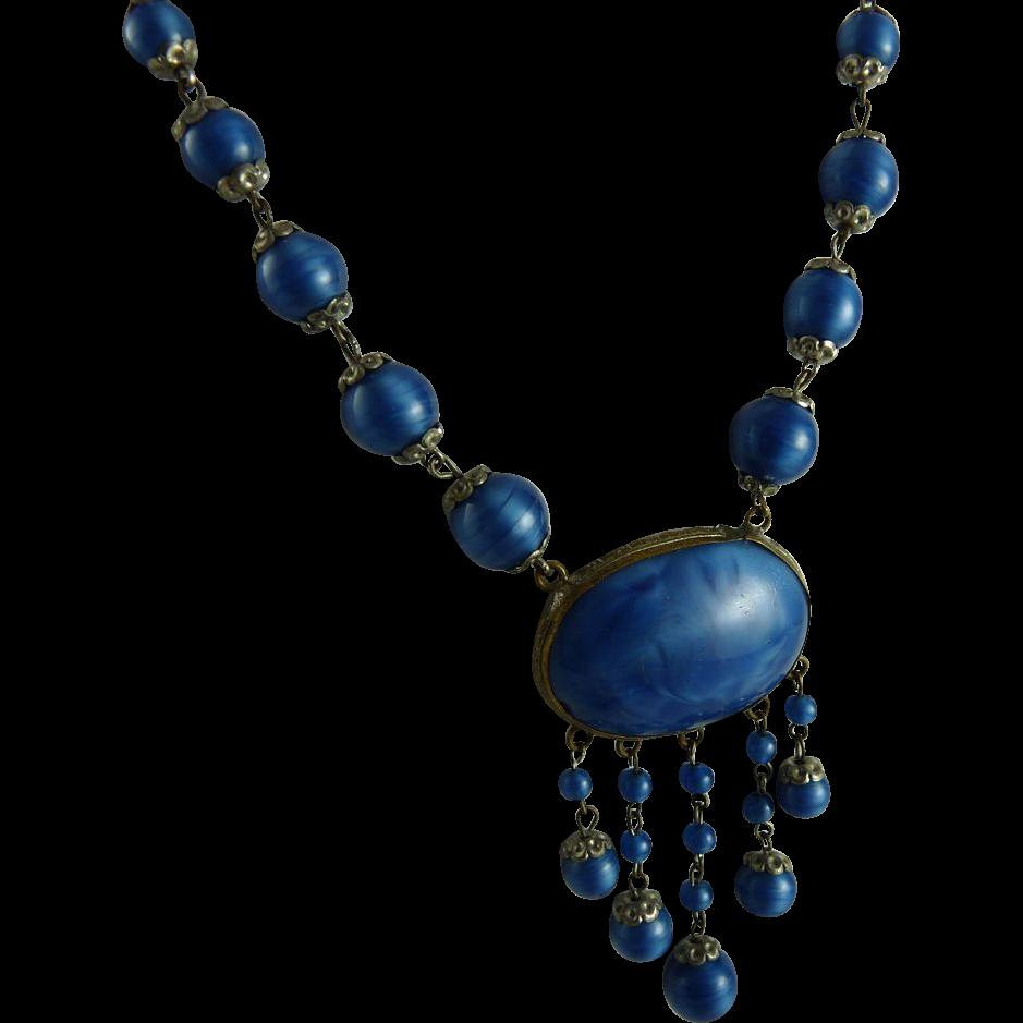Vintage Swirl Glass Centerpiece Necklace