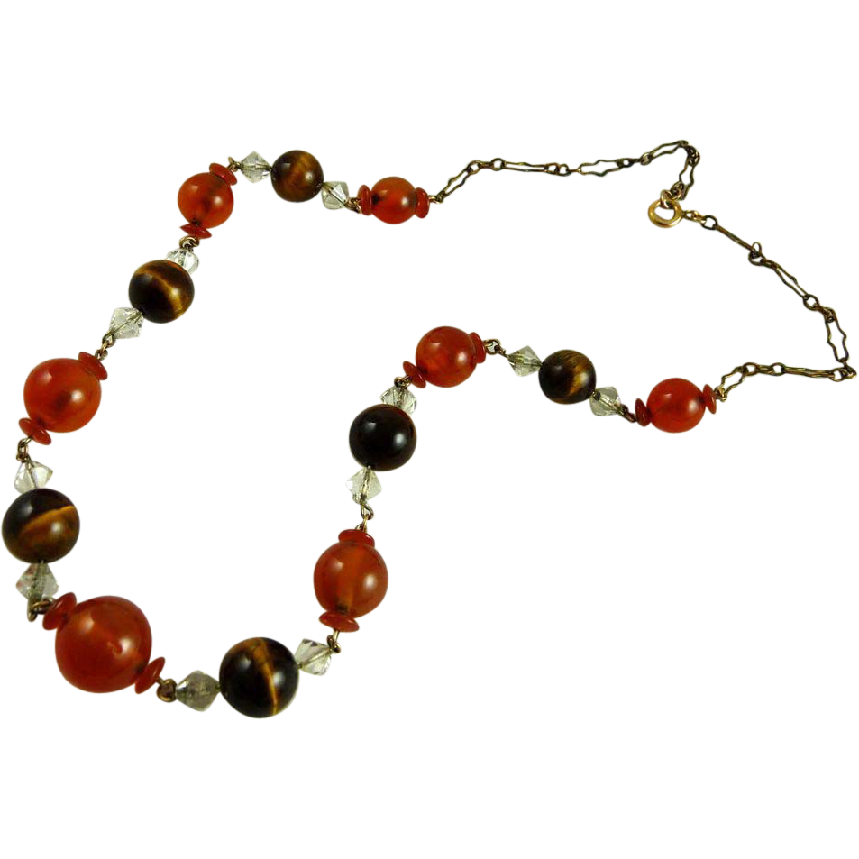 Vintage Art Deco Carnelian Tiger Eye Bead Necklace
