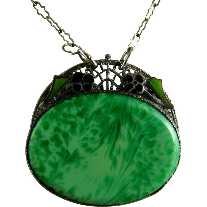 Vintage Art Deco Peking Glass and Enamel Pendant Necklace