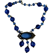 Art Nouveau Blue Glass Bead Necklace