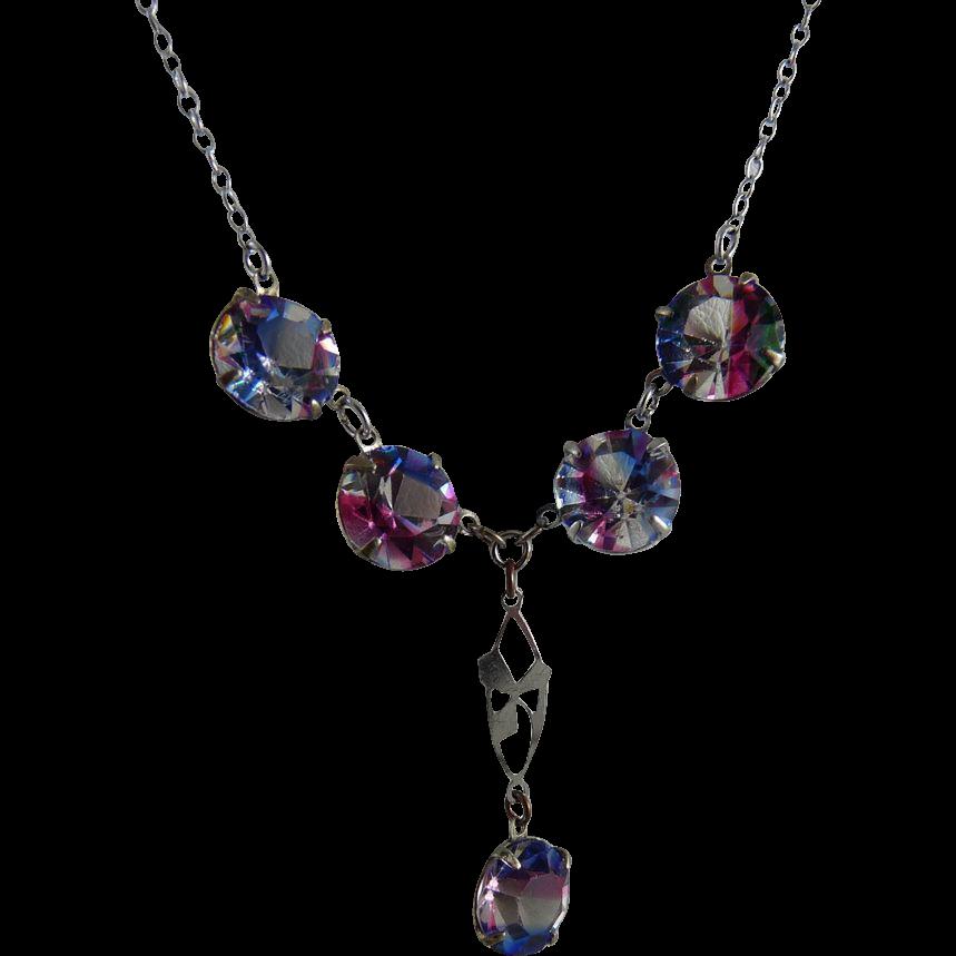 Vintage Iris Glass Drop Necklace Rainbow Glass Rhodium Finish