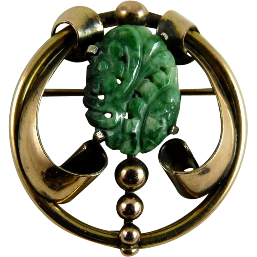 Vintage Walter Lampl Brooch Carved Jade Gold Filled over Sterling Silver