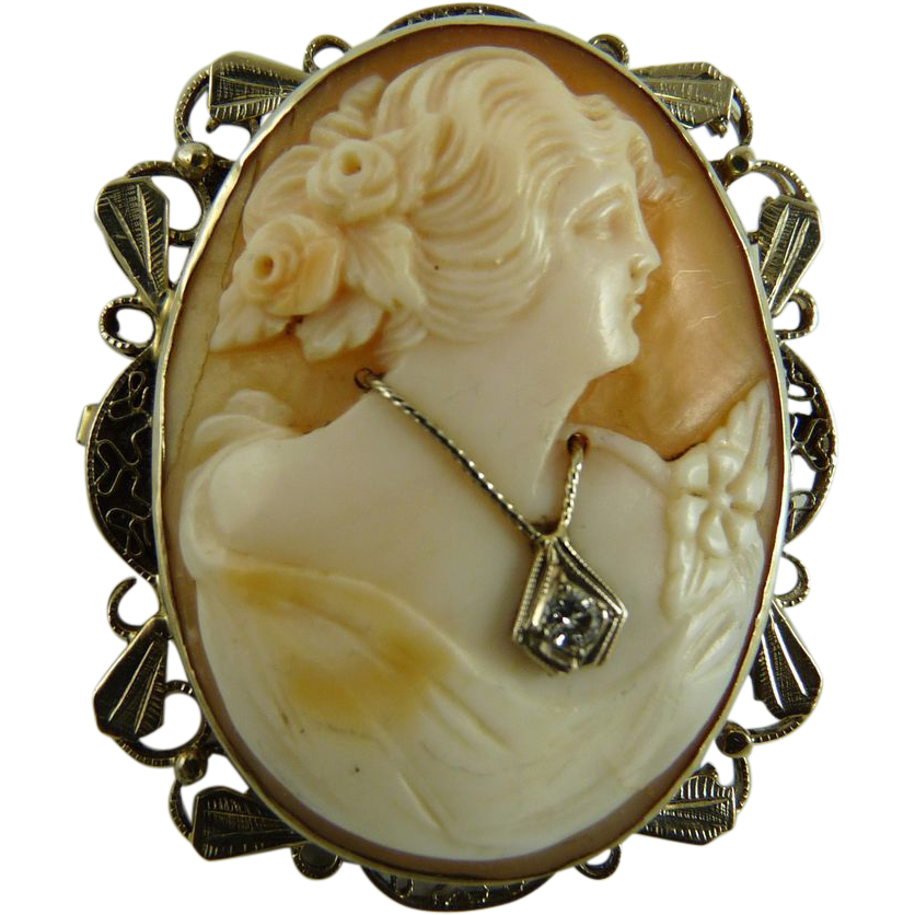 Antique Habille Shell Cameo 14K Filigree White Gold Setting